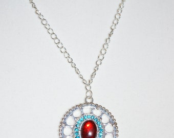Blue and Red Pendant Necklace