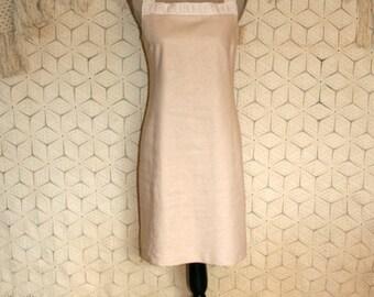 Vintage 90s Dress Beige Dress Linen Dress Sleeveless Dress Shift Dress Summer Dress Kasper Size 12 Dress Size 14 Dress Large Womens Clothing