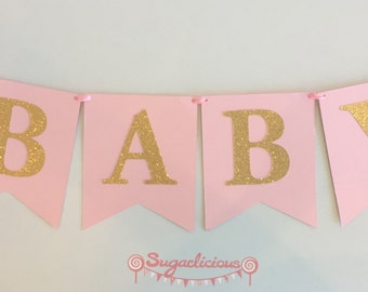 BABY SHOWER Pink & Gold Glitter Bunting Baby Girl Banner Garland - 5 Different Options