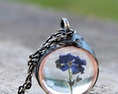 SET, complete with discount, for Bridesmaids, Real dried flowers glass forget-me-not nostalgic vintage retro wedding pendant necklace