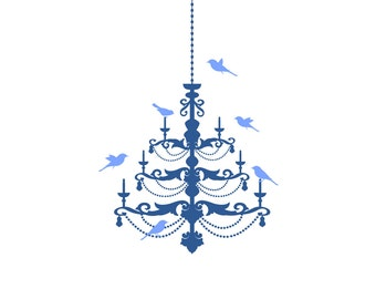 CHANDELIER Plus BIRDS Wall Decal Removable Wall Art Vinyl Dinning Room Sticker 60 Color Choices 6 sizes