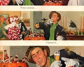 1950 Halloween party Scarecrow in Schlitz beer vintage print ad, ephemera, decor, costumes,