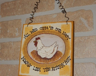 Our Nest Kitchen Country/Rustic/Primitive Chicken Wall Hanging