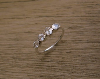 25% OFF White Topaz Sterling Silver Gemstone Band, Made to Order,