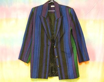 90s Vintage Jag Jacket Striped Blazer Grunge Coat Button up 1990s Vtg Size S-M