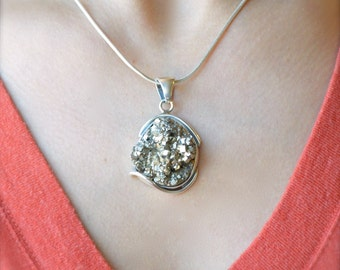 A Handful of Pyrite Gold Pendant // Pyrite Jewelry // Fool's Gold Jewelry // Sterling Silver // Village Silversmith