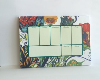 Weekly Desk Planner, A Colorful Desk Accessory, 52 sheets of Creative and Productive Space to help Plan out your busy week.