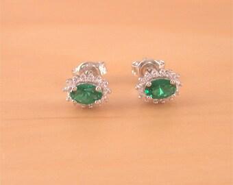 925 Emerald (Lab Created) Oval Earrings/Emerald Stud Earrings/Emerald Jewelry/Emerald Jewellery/Emerald Jewelery/May Birthstone/Green Gems