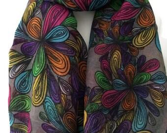 Grey Floral Scarf, Orange Green Pink Flower Print, Ladies Yellow Purple Flowers Pattern Wrap Shawl