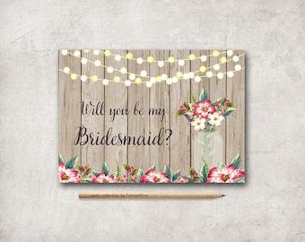 Bridesmaid Card, Maid of honor Card Printable, Mason Jar Rustic Will you be my bridesmaid, Printable Bridesmaid Card, Bridesmaid Proposal