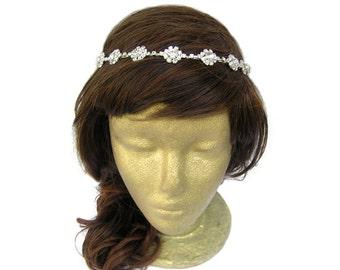 Bridal Headband, Flower Crown, Flower Girl Head Piece, Vintage Wedding Headband, Bridal Rhinestone Headband Greek Goddess Headband Prom Ball