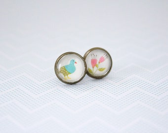Bird and flower earrings, studs