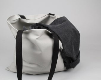 The Standard Tote // Grey and Black UNWAXED Canvas Tote Bag