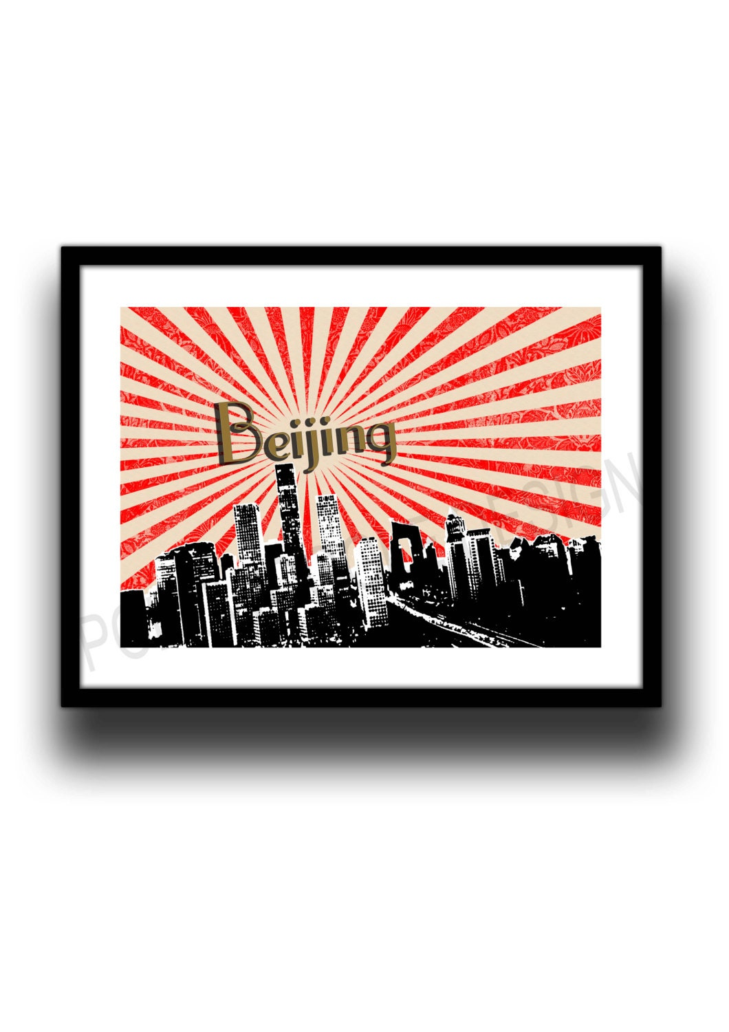 Beijing skyline poster digital art minimalist wall decor for Minimalist wall art
