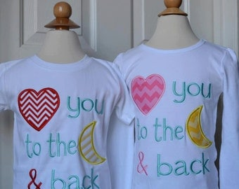 Personalized Valentine Love You to the Moon & Back Applique Shirt or Onesie Girl or Boy
