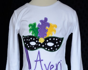 Personalized Mardi Gras Mask with Feathers Applique Shirt or Onesie Girl or Boy