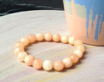 Peach Agate Bead Bracelet//Peach Bead Bracelet//Peach Stretch Bracelet//Agate Bead Bracelets//Peach Jewelry
