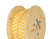 Fabric Cable Electric Textile Cable wire for Lighting Round 2x0.75 Yellow and White Wooden Reel