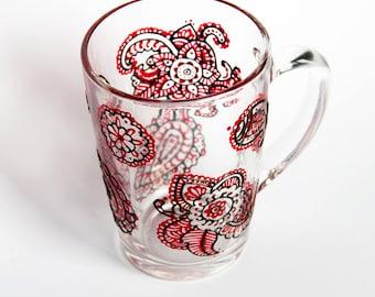 Boho Art Paisley Design Mug, Mehendi Oriental Ornament Mug