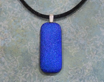 Blue Necklace, Handmade, Dichroic Fused Glass Jewelry, Sparkly - Shadoe - -5