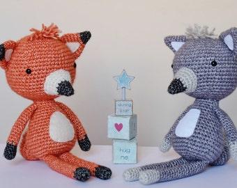 Crochet Amigurumi renard et loup patron seulement PDF Téléchargement instantané peluche bricolage enfants cadeau mignon