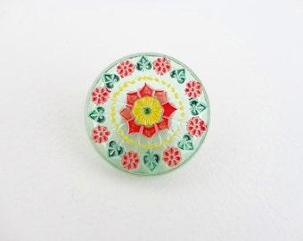 Czech Glass Button - 31mm Green, Red and Yellow Flower Hand Painted Czech Glass Button BUT0006