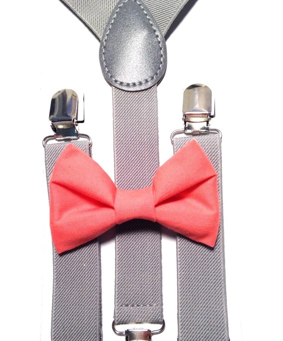 Light Gray Suspenders and Coral Bow Tie