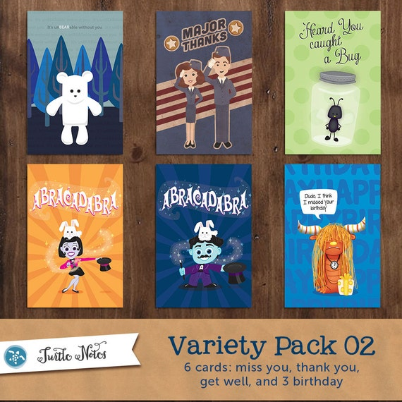 6 Greeting Cards Variety Pack 02 By TurtleNotes On Etsy