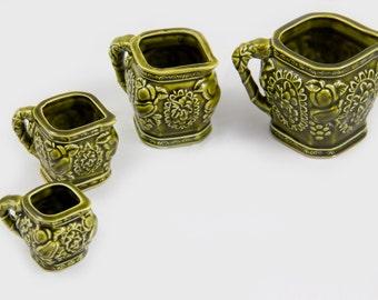Green Ceramic Measuring Cups, Made In Japan