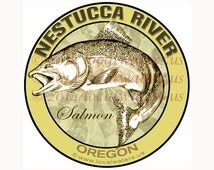 Nestucca River Sticker Salmon Fishing Sticker Oregon Decal Decal Guaranteed Not to Fade for 3 years - UV Laminated - Waterproof - Salmon Art