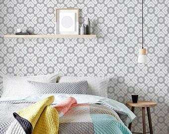 Gray Wallpaper, Wall Decor Sticker, Removable Flower Wallpaper, Wallpaper Peel And Stick, Self Adhesive Wallpaper Mural Modern, Wall, C053