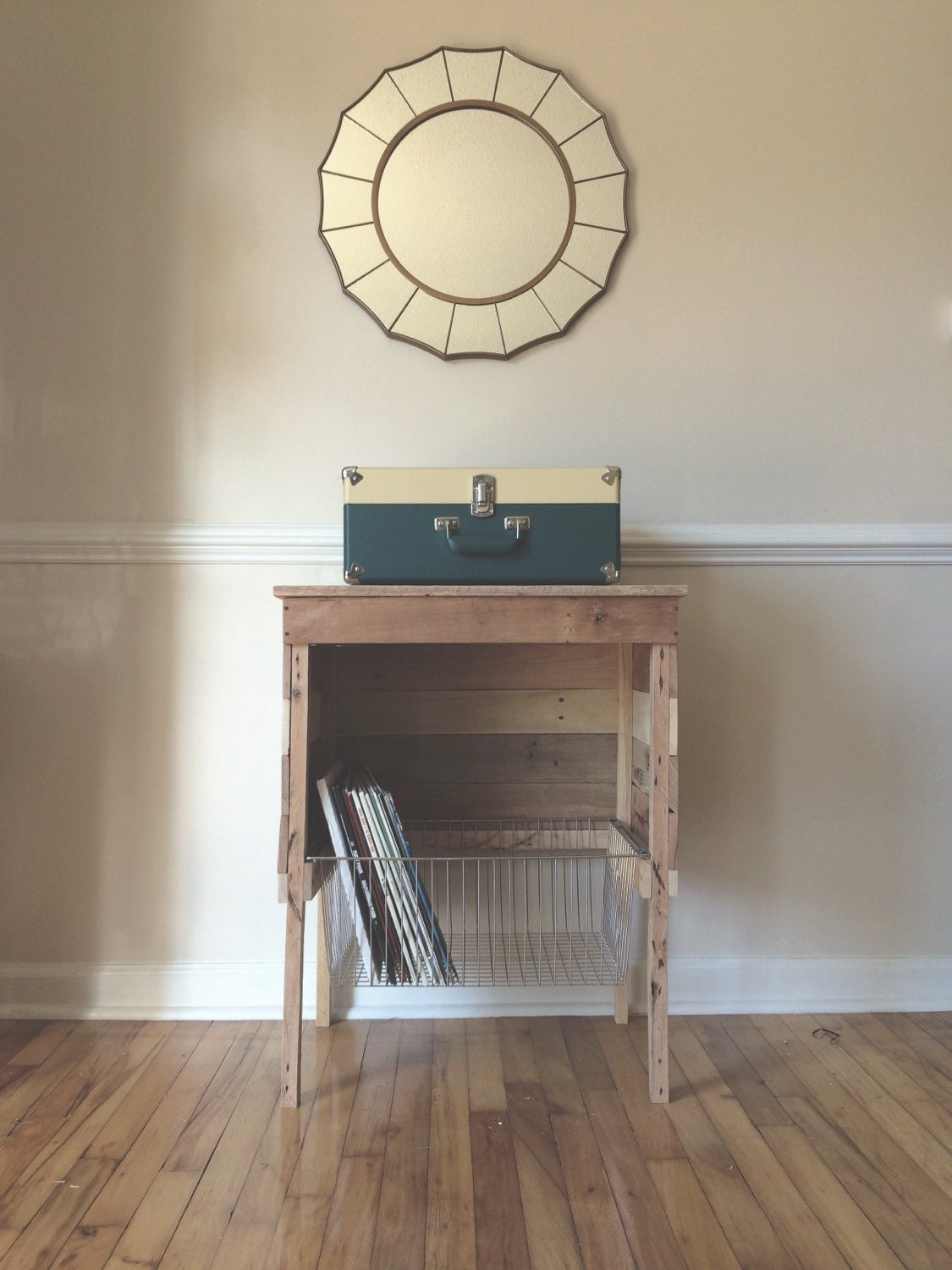 Reclaimed Record Player Storage Stand