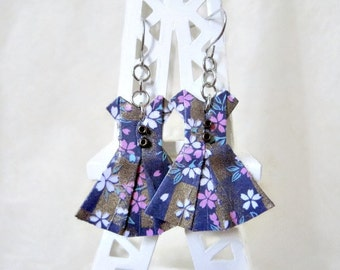 Origami Jewelry - Paper Dress Earrings - Paper Anniversary - Paper Jewelry - Origami Earrings - WY04