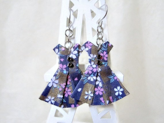 Anniversaire de origami bijoux boucles d 39 oreilles robe - Robe en origami ...