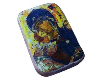 """16x11cm- 6"""" by 4"""" wooden icon Theotokos of Vladimir. Panagia Eleousa, Virgin Mary, our Lady, Madonna Eleousa, Vladimirskaya Ikona, Russian"""