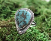 Genuine Turquoise Ring Size 9 | Sterling Silver | Turquoise Jewelry | Statement Ring | Southwestern Jewelry