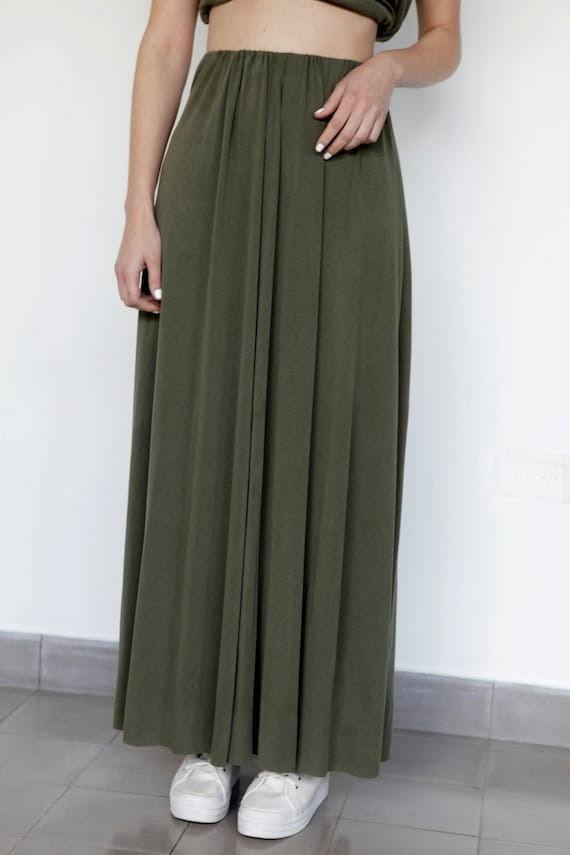 items similar to sale 40 olive maxi skirt high
