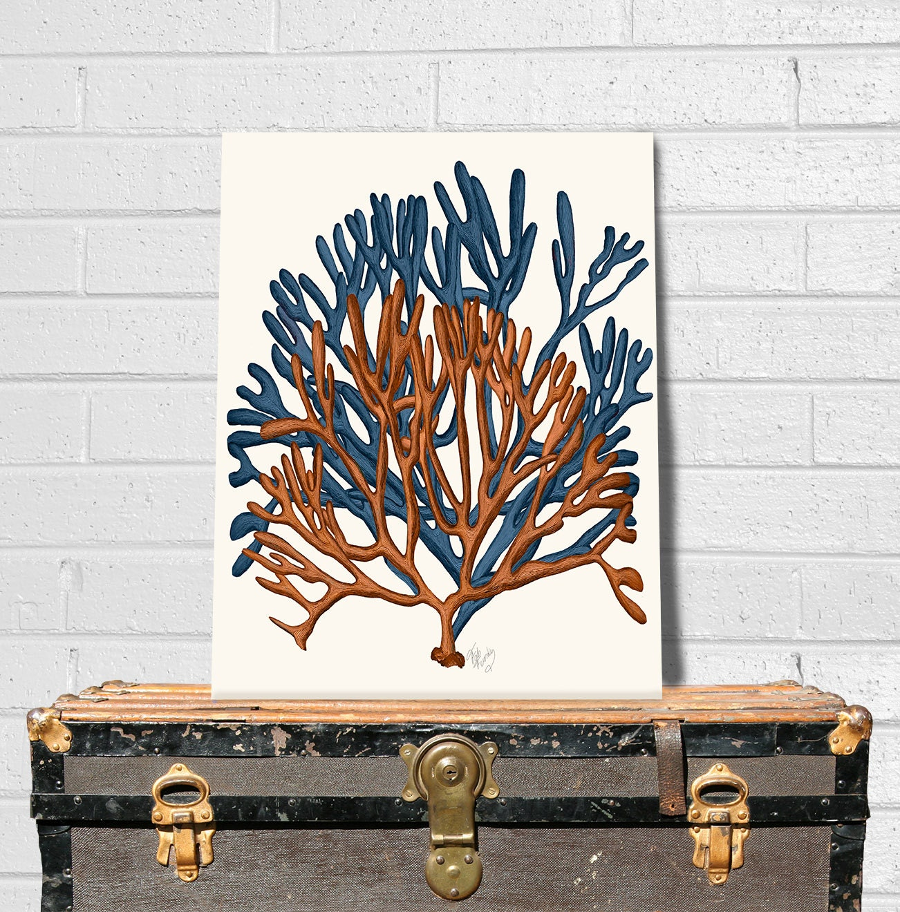 Coral home decor blue and orange coral print 1 sea coral for Coral decorations for home