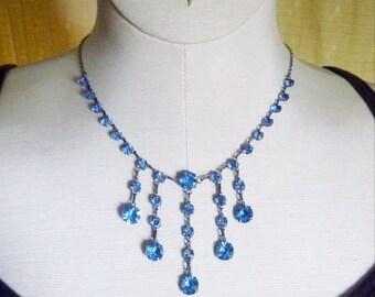 Art Deco sterling open back crystal festoon necklace light blue paste