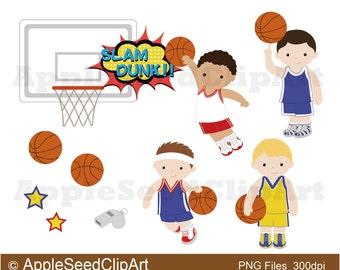 Basketball Players Digital Clip Art, Cute Boys Digital Clip Art, Athlete Digital Clip Art, Sports Digital Clip Art
