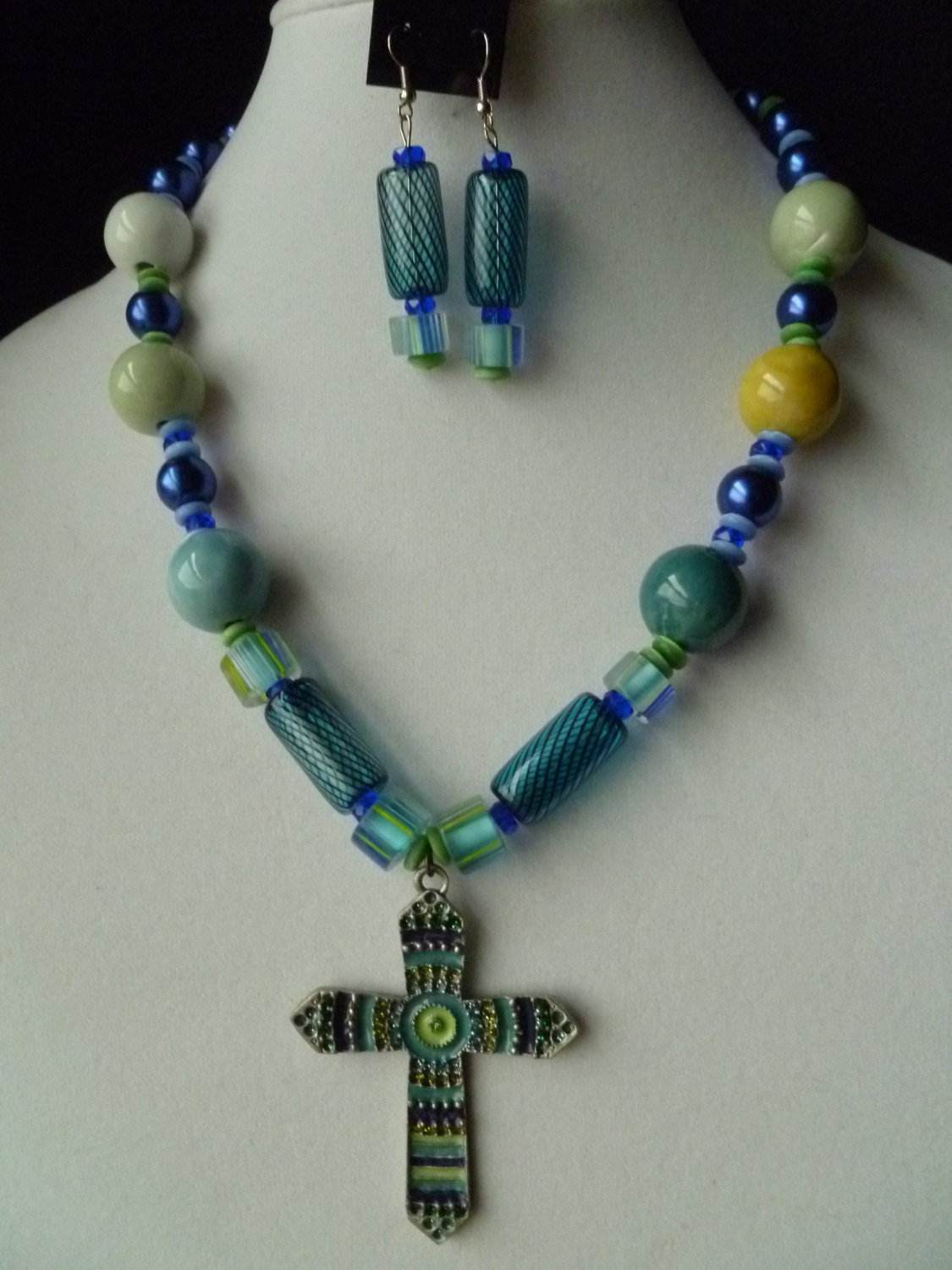 large cross chunky beaded necklace and earring set in blue and