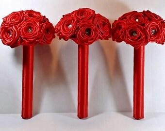 3 piece  bridesmaids bouquet package - customize to your colours