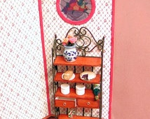 """OOAK Wood and """"wrought iron"""" baker's rack 2 opening drawers and 4 shelves. 1 to 12 scale. Handmade in USA."""