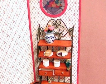 "OOAK Wood and ""wrought iron"" baker's rack 2 opening drawers and 4 shelves. 1 to 12 scale. Handmade in USA."