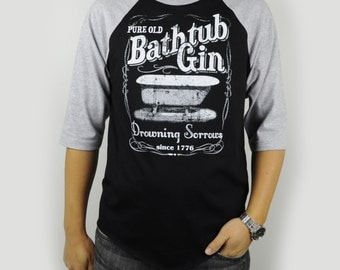 Moonshine Bathtub Gin Baseball Raglan T-Shirt Retro Vintage Heather Gray/Black
