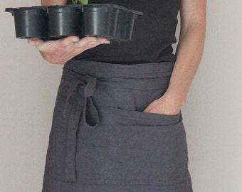 Linen half apron in slate grey, Pre washed bistro apron, Eco friendly