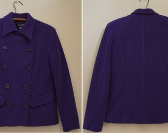 purple jacket - wool cashmere double breasted pea coat - side pockets - silky smooth lining - flattering darting throughout - Rafaella