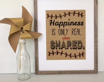 Happiness Quote 8x10 Burlap Print, Wall Decor, Room Decor, Home Decor, Wedding, Anniversary, Housewarming, Engagement, Birthday, Gift