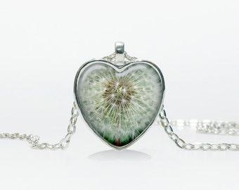 Dandelion pendant Dandelion Heart necklace Heart jewelry  Heart shape Christmas gift