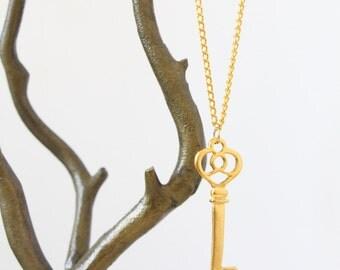 Gold Key Pendant Necklace